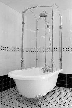 """Circa 1880 63"""" Classic Style Clawfoot Tub and Glass Shower Enclosure Complete"""