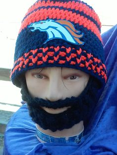DENVER BRONCOS Bearded Beanie, Denver Broncos Embroidered Patch, Handcrafted Beanie,Any Size ,Any Color,Check All 5 Pictures,Sports FASHION by DWedgeCreations on Etsy
