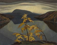 """crashinglybeautiful: """" Yvonne McKague Housser, Evening, Nipigon River, c. 1942 Oil on paperboard. From arsvitaest via: Canadian Paintings in the Thirties """" Environment Painting, Tom Thomson, Group Of Seven, Canadian Artists, Landscape Paintings, Cool Pictures, River, Gallery, Canada"""