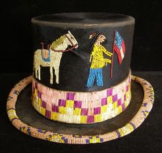 Hat with beads & porcupine quills