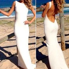 White Backless Maxi Party Dress $23.99 & free shipping, Email for Order: disheefashion@outlook.com