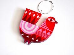 Red Peacock | Double face plexiglass art ornament | screenprinted & lazer cutted | 8 x 8 x 0.8 cm