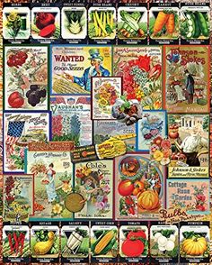 White Mountain Puzzles Garden Seeds - 1000 Piece Jigsaw PuzzleVintage vegetable seed packets create the top amp; Vintage Seed Packets, New Puzzle, Puzzle 1000, Old Farmers Almanac, Challenging Puzzles, Pepper Plants, Collage Design, Garden Seeds, 1000 Piece Jigsaw Puzzles