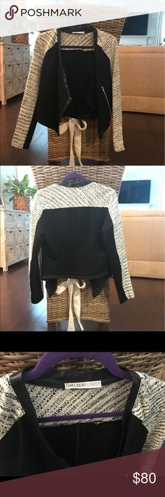 Light weight jacket/blazer Light weight Chelseaflower jacket with faux leather trim. Perfect for a straight from work to drinks outfit! Purchased at upscale boutique and worn once -- still in perfect condition chelsea flower Jackets & Coats Blazers