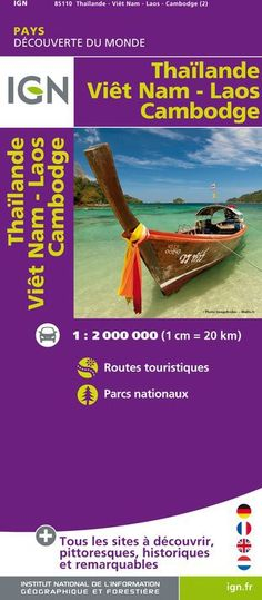 Carte touristique des pays du Monde IGN - Thailande / Viet-Nam / Laos / Cambodge