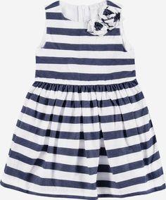 Königsmühle Glocken-Kleid mit Streifen und Rosen-Applikation Mädchen Kinder - Blau