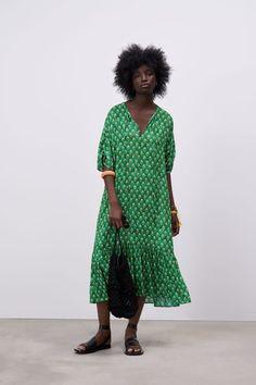 Vestidos Zara, Zara Outfit, Short Sleeves, Short Sleeve Dresses, Zara New, Zara Dresses, The Dress, Green Dress, Wrap Dress