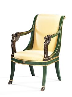 An Empire Parcel Gilt Fauteuil