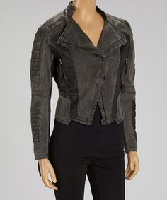 Look at this #zulilyfind! PAPARAZZI Black Asymmetrical Faux Leather-Accent Moto Jacket by PAPARAZZI #zulilyfinds