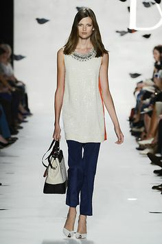 DVF | Pauline Dress In Cream on the runway, Spring 2013: Palazzo