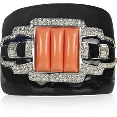 Kenneth Jay Lane Silver-plated crystal cuff (1.210 ARS) ❤ liked on Polyvore featuring jewelry, bracelets, cuff, black crystal jewelry, orange bracelet, hinged bracelet, black jewelry и black crystal bracelet