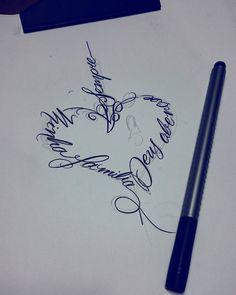 E essa caligrafia em forma de coração: Deus abençoe a minha família sempre…