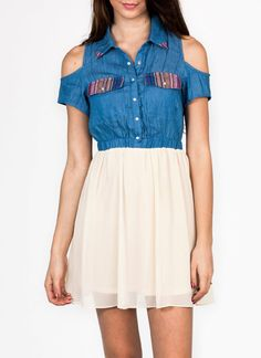 cold shoulder denim combo dress