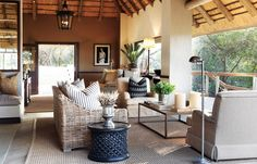 Yvonne O Brien Pioneer Camp South African interior Style African Interior Design, African Design, African Style, Porches, British Colonial Style, African Home Decor, Lodge Decor, Home And Living, Living Rooms