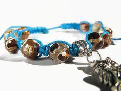 Owl Tibetan Mystical Agate Dzi Bead Bracelet by ThingsFromShela