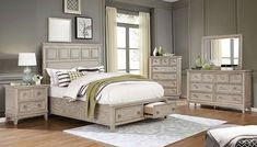 "FOA7925 5 pc Rosdorf park lillian natural beige tone finish wood paneled design queen bedroom set. This set includes the queen bed, 1 - nightstand, dresser, mirror, and Chest. Features a panel fabric tufted design on Headboard and all items made with solid and man made woods with full extension metal glide drawers. Queen bed with drawers mattress ready measures 86 1/2"" L x 66 1/2"" W x 64 "" H. Nightstand with USB charger measures 29 1/4"" W x 17"" D x 29 3/8"" H.... Cal King Bedding, Queen Size Bedding, Queen Bedroom, Bedroom Sets, King Beds, Queen Beds, Natural Mirrors, Wood Veneer, Wood Wood"