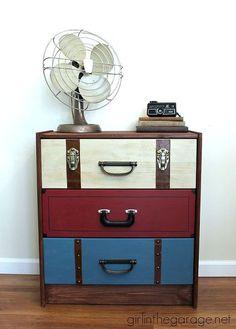 Awesome vintage IKEA Hack! Suitcase dresser ikea rast hack, diy, painted furniture