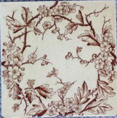 Pretty floral genuine victorian tile 6x6 inches