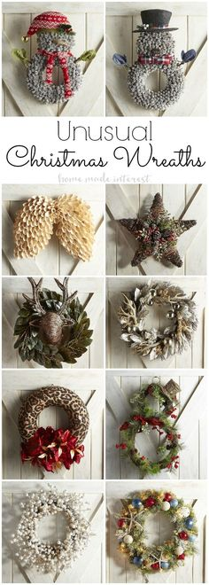 (affiliate) All different shapes and colored wreaths for your front door this Christmas season.