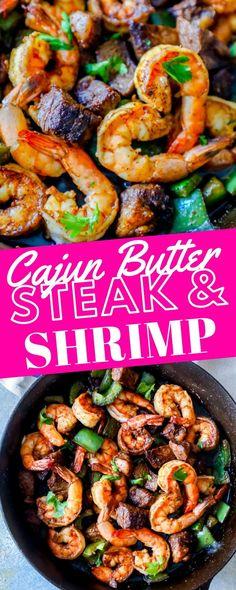 Cajun Butter Steak and Shrimp Skillet Recipe - Sweet Cs Desi.-Cajun Butter Steak and Shrimp Skillet Recipe – Sweet Cs Designs Cajun Butter Steak and Shrimp Skillet Recipe – Sweet Cs Designs - Cajun Recipes, Seafood Recipes, Gourmet Recipes, Beef Recipes, Cooking Recipes, Healthy Recipes, Cajun Beef Recipe, Steak And Shrimp Tacos Recipe, Cajun Butter Recipe