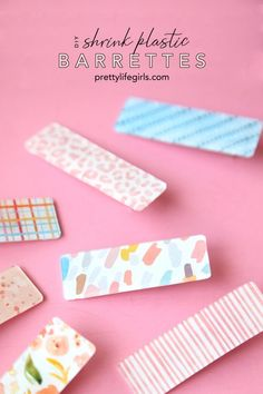 DIY Shrink Plastic Barrettes: a Step by Step Tutorial - The Pretty Life Girls Shrink Paper, Shrink Art, Shrink Film, Shrink Plastic Sheets, Diy Shrink Plastic Jewelry, Diy And Crafts, Crafts For Kids, Shrinky Dinks, Diy Schmuck