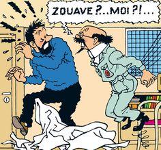 Les Aventures de Tintin - Cuthbert Calculus is very absent-minded, hard of hearing, intuitive and very sentimental. Bd Comics, Funny Comics, Caricatures, Tintin Au Tibet, Tin Tin Cartoon, Captain Haddock, Herge Tintin, Comic Art, Comic Books