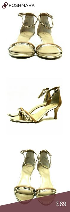 ANN TAYLOR STRAPPY TAUPE, GOLD & SNAKE HEELS ANN TAYLOR STRAPPY TAUPE, GOLD & SNAKE HEELS LIKE NEW! Literally Wore Once Inside- See Pics SZ 6 1/2M  Pls See All Pics. Ask ? If Not Sure Ann Taylor Shoes Heels