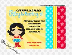 Wonderwoman Inspired Birthday Invitations by LillysPartyBoutique, $15.00