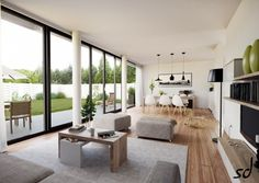living with floor to ceiling windows