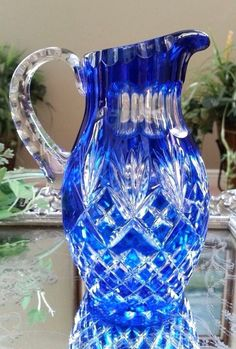 Beautiful!! Vintage Bohemian Cobalt Blue Cut to Clear Crystal Pitcher   eBay
