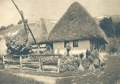 Traditional thatched houses in Romanian countryside Vernacular Architecture, Historical Architecture, Romania People, Thatched House, History Photos, Modern Landscaping, Bucharest, Traditional House, Old Photos