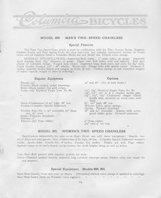 Pope Manufacturing Company Columbia Bicycles , 1912