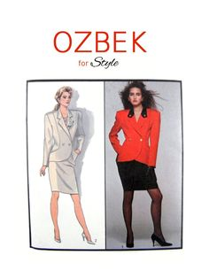 1986 Style 1200 Rifat Özbek Designer Exclusive Misses' Lined Jacket and Lined Skirt, Rare, Uncut, Factory Folded, Sewing Pattern Size 12 Contrast Collar, Double Breasted Jacket, Straight Skirt, Line Jackets, 80s Fashion, 1980s, Sewing Patterns, Size 12, Skirts
