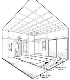 【超級!!背景講座!!】MAEDAXの背景萌え!~和室の描き方~   イラスト・マンガ描き方ナビ Japanese Buildings, Japanese Architecture, Concept Architecture, Japanese Style House, Traditional Japanese House, Manga Drawing Tutorials, Drawing Tips, Perspective Drawing Lessons, Architecture Drawing Sketchbooks