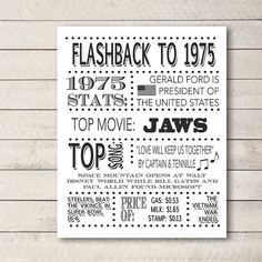 SALE 1975 Poster 30th birthday Flashback to by WhitetailDesigns