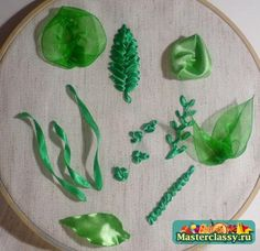 Ribbon embroidery for beginners. Leaves.