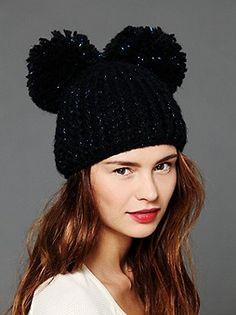 Double Pom Pom Beanie. So cute, even though it looks like Mickey Mouse ears!