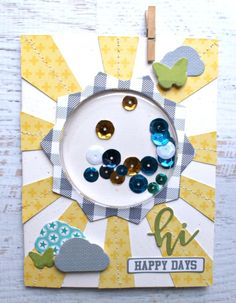 Jillibean Soup: Hi Happy Days Card by Jennifer Haggerty featuring Shape Shaker and 2 Cool For School collections.