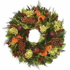 """Urban Florals 2858 Cascade Mountain Wreath Size: 18"""" by Urban Florals. $64.00. Urban Florals 2858 Features: -Cascade Mountain collection. -Designed with preserved cedar, myrtle in red and green color, natural hydrangea, quince slices, pomegranates and spruce pine cones. -Perfect for protected door to welcome family and friends this fall season. Size: 18"""""""