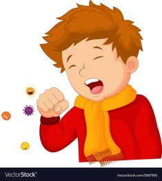Little boy coughing on white background Royalty Free Vector,