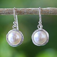 Cultured pearl dangle earrings, 'Pearl Radiance'