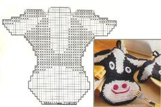 grytekluter Crochet Kitchen, Hot Pads, Pot Holders, Crochet Hats, Crochet Blankets, Teddy Bear, Pattern, Animals, Cows