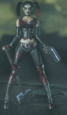 I like Harley Quinn, even in her mourning state. But I like the original Arkham City Design of Harley. Batman Arkham City, Gotham City, Harley Tattoos, Batman Girl, Talia Al Ghul, Daddys Lil Monster, Fanart, Joker And Harley Quinn, Marvel Dc Comics