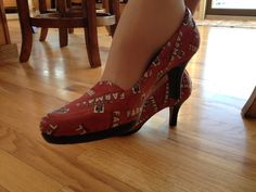 Farmall tractor shoes made from Farmall red logo fabric.