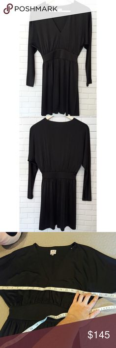 Halston Heritage designer dress In perfect condition. Like new! Absolutely beautiful black long sleeve dress. Measurements provided in pics above. True to size. Zips up the side. Cute little slits on bottom hem. This dress was $375 new.  From a smoke and pet free home. Fast shipping! Bundle and save even more. This item ships free when added to a bundle. I will offer the free shipping. Halston Heritage Dresses Long Sleeve