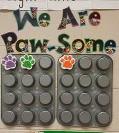 This is my classroom reward system. Compliments and group - wide job well dones earn them a paw print. After a dozen paw prints they will earn a cupcake treat. Classroom Reward System, Classroom Incentives, Behavior Incentives, Classroom Treats, Classroom Decor Themes, Classroom Behavior, Classroom Setup, Preschool Classroom, Classroom Management