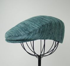 Custom Jeff Cap Handmade Flat Cap Driving Cap for Men in Azure Silk Matka -  Raw 5ccb502edbbd