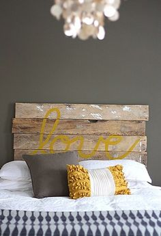 #DIY wood pallet headboard idea with yellow typography. Cute looking #bedroom