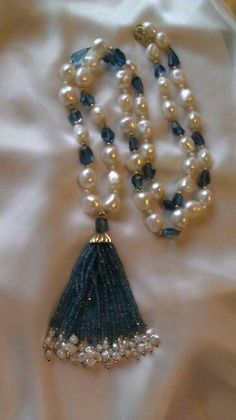 London Blue topaz, magnificent fresh water pearl and gold tassel necklace. LOVE the rich color of this topaz! Pearl Necklace Designs, Beaded Jewelry Designs, Bead Jewellery, Bracelet Designs, Jewelery, Beaded Necklace, Silver Jewellery Indian, Silver Jewelry, Hyderabadi Jewelry