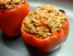 Rice and Lentil Stuffed Peppers